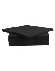 SET 40 SERVIETTES 38CM BLACK